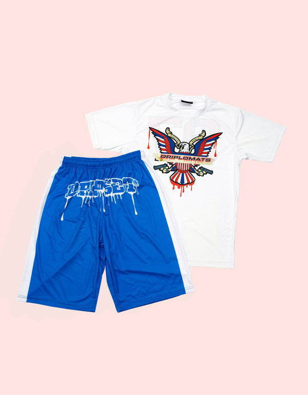 Drip Set Short Set BLUE - DIPSET COUTURE
