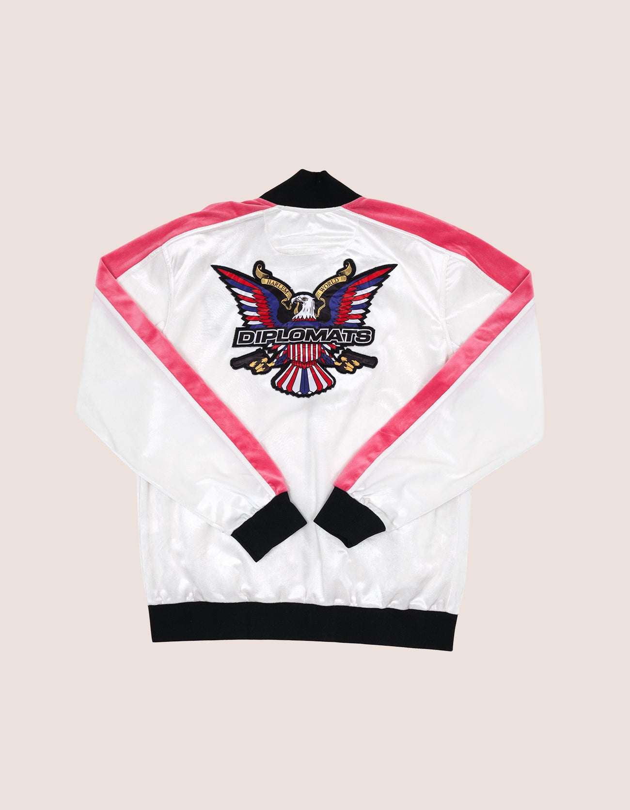 Velour White/Pink Eagle Tracksuit