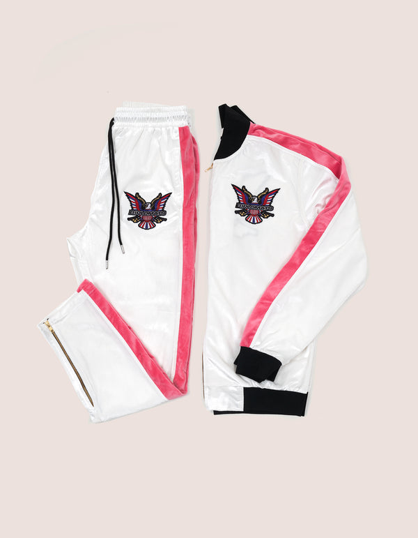 Velour White/Pink Eagle Tracksuit - DIPSET COUTURE