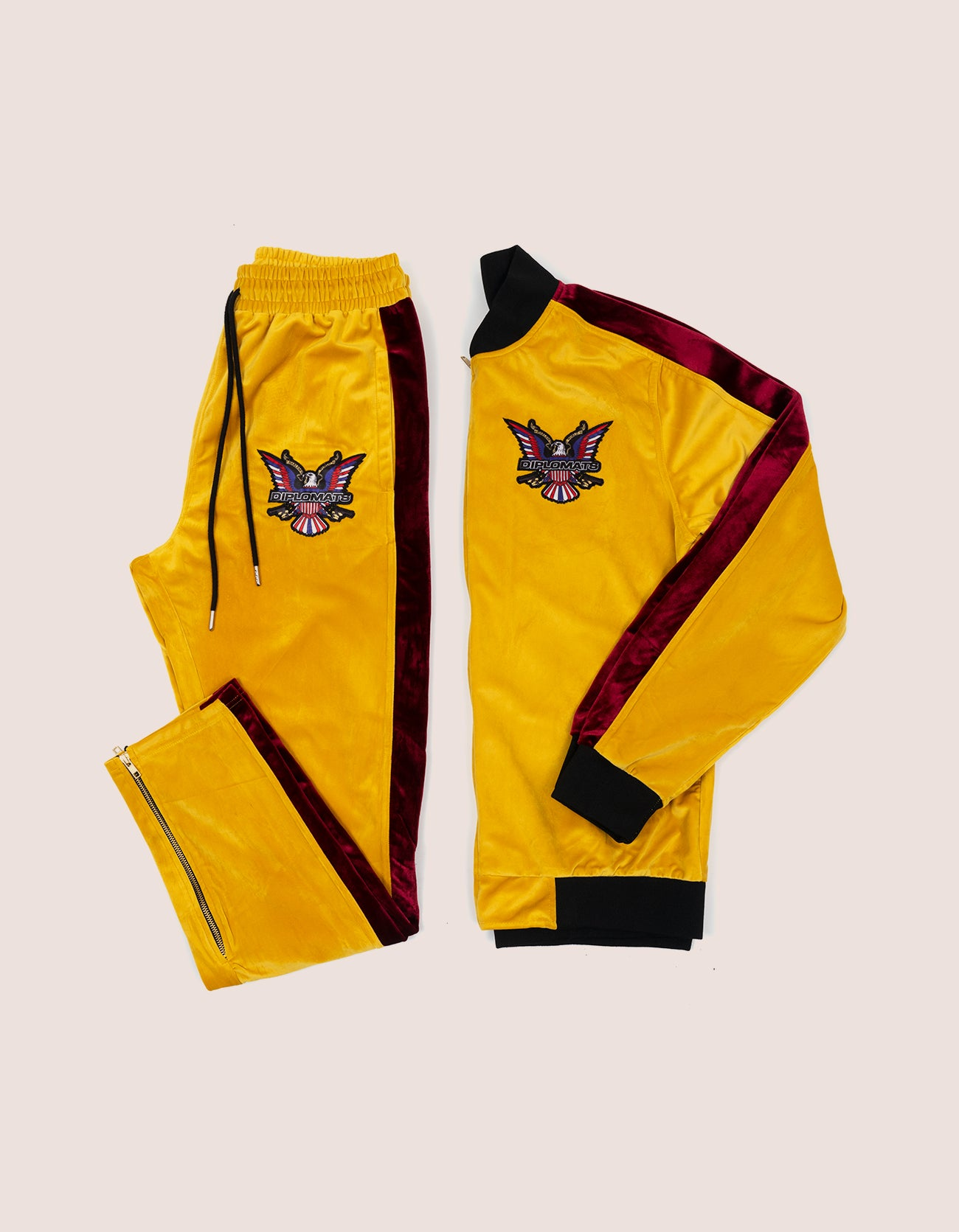 Velour Mustard Eagle Tracksuit