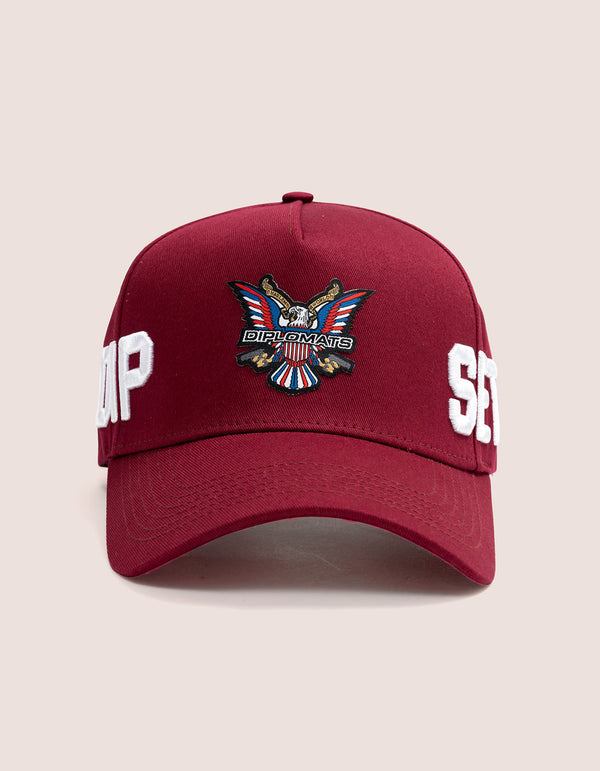 DIPSET COUTURE COTTON ROCKSTAR HAT BURGUNDY - DIPSET COUTURE