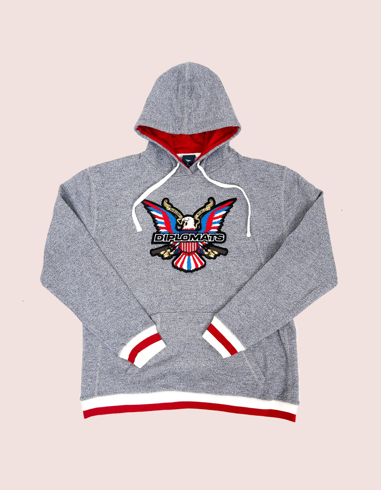 Grey / Red Hoodie Chenille Eagle