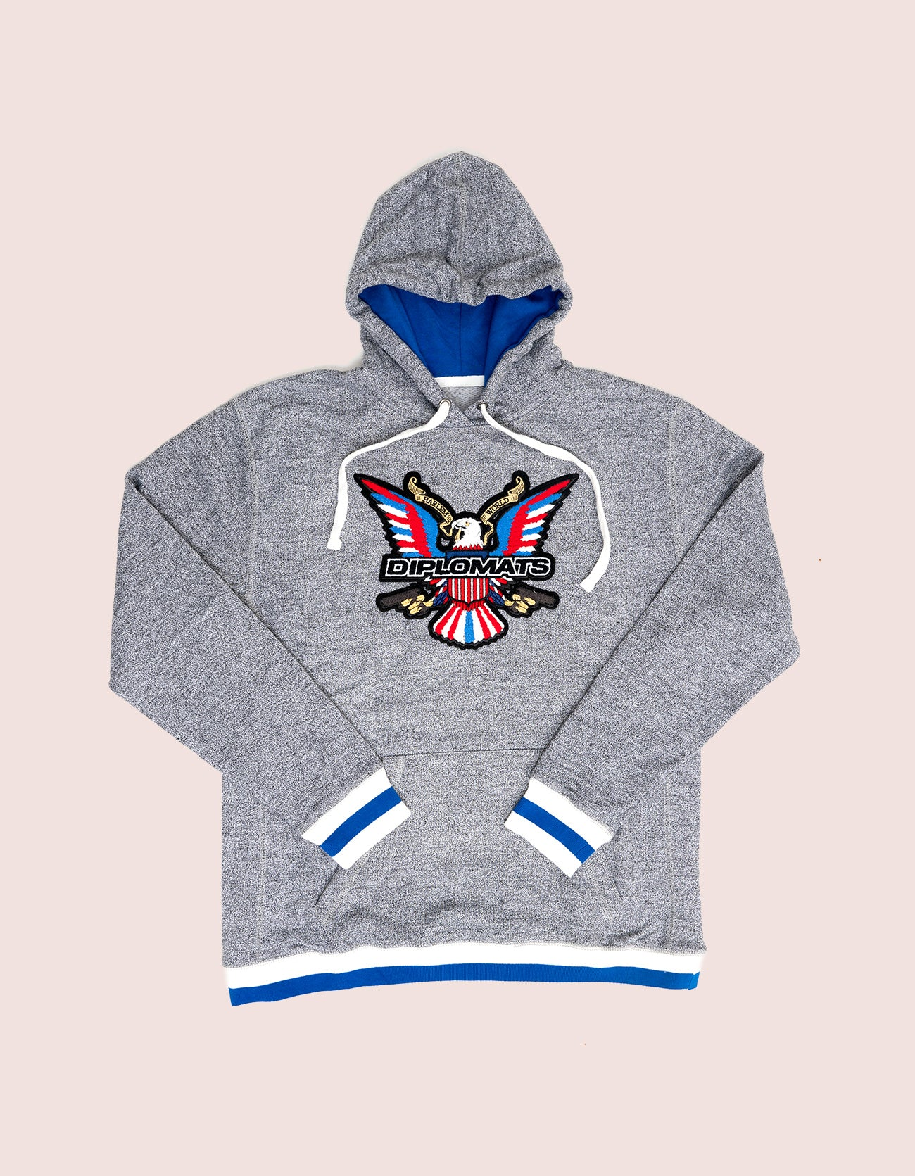Grey / Blue Hoodie Chenille Eagle