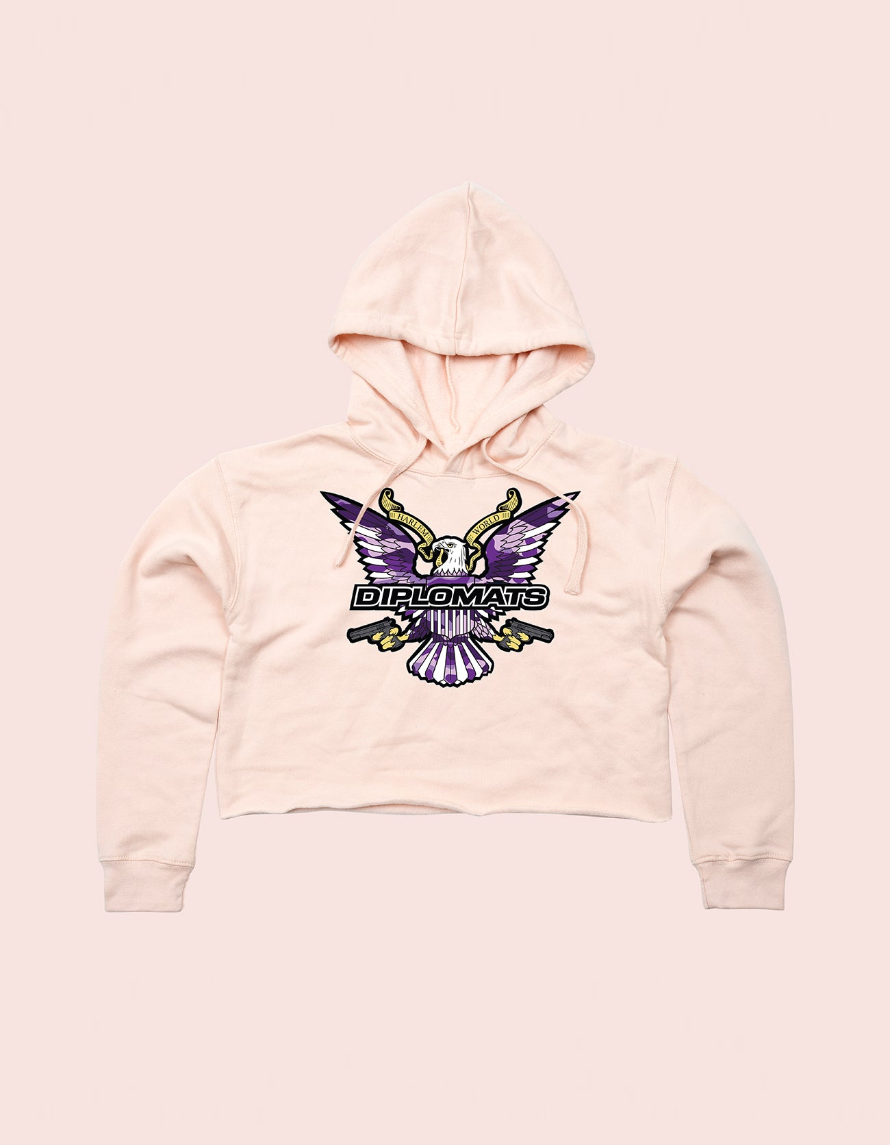 GIRLS CROP TOP HOODIE LIGHT PINK PURPLE CAMO EAGLE