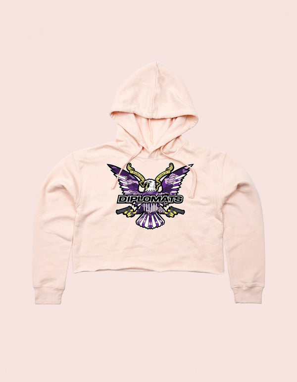 GIRLS CROP TOP HOODIE LIGHT PINK PURPLE CAMO EAGLE - DIPSET COUTURE
