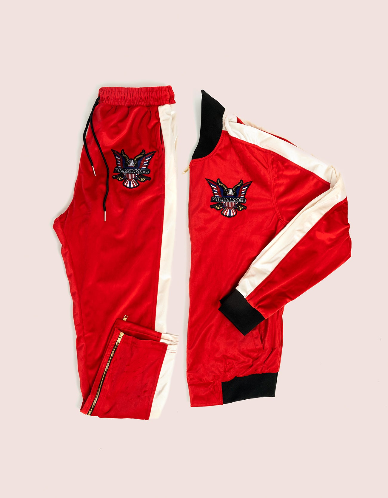 Velour Red/White Eagle Tracksuit