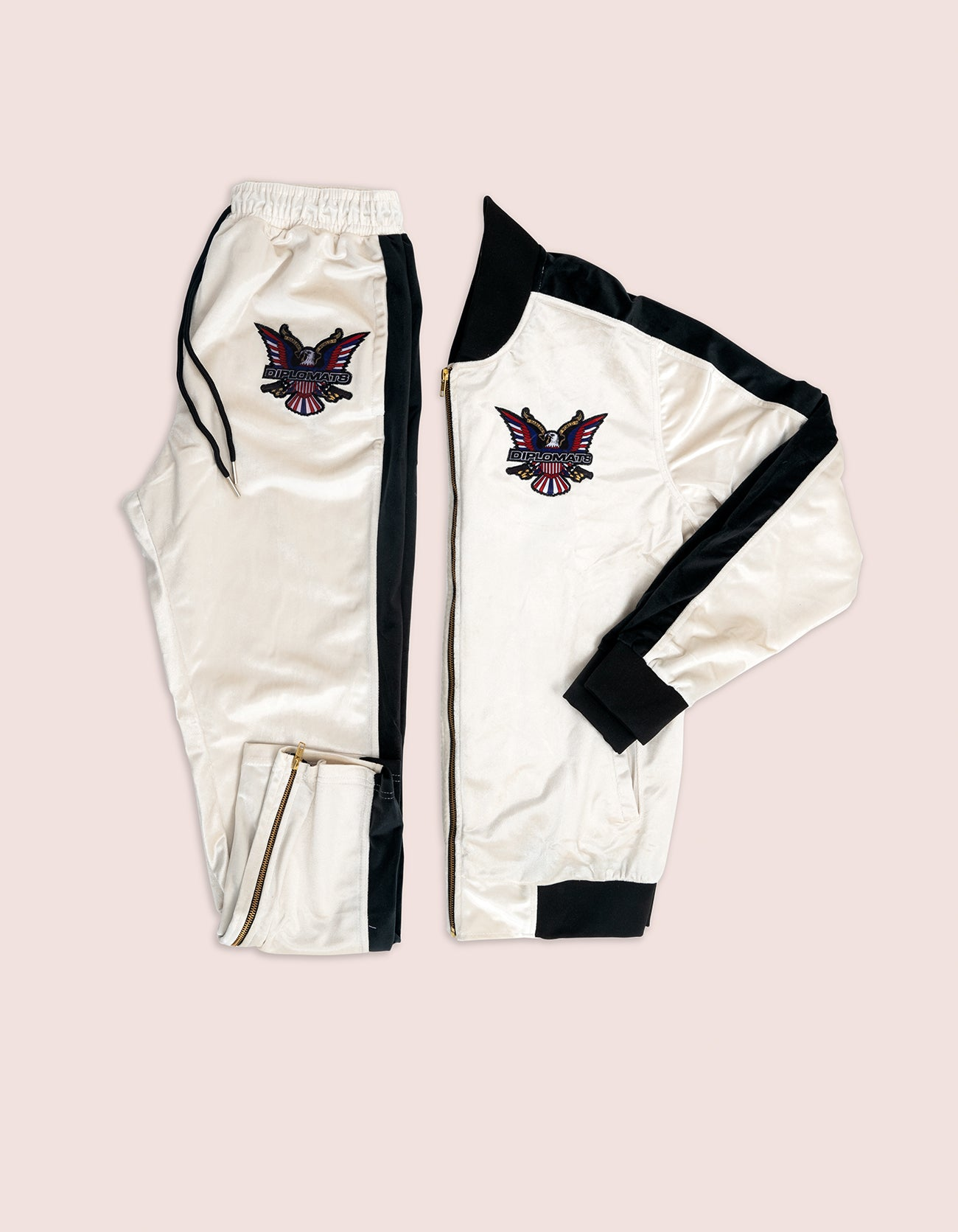 Velour White/Black Eagle Tracksuit