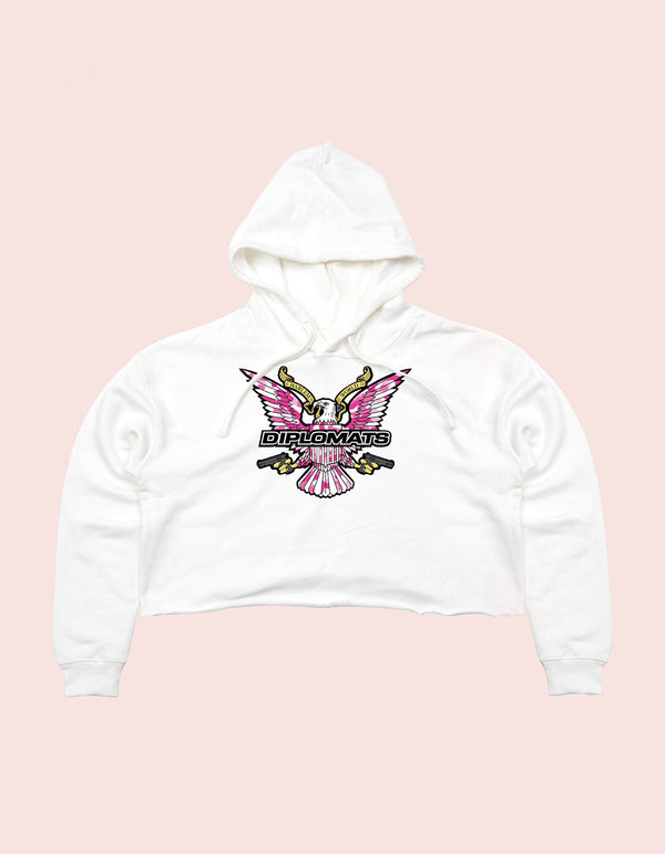GIRLS CROP TOP HOODIE WHITE PINK CAMO EAGLE - DIPSET COUTURE