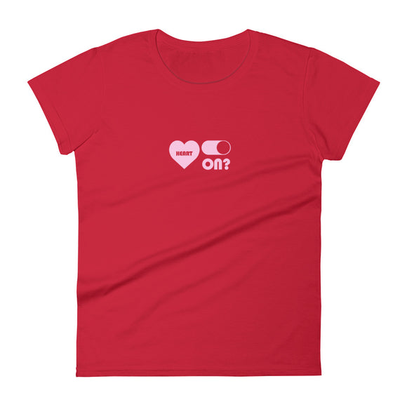 Red Heart On Ladies T-Shirt - Ryze
