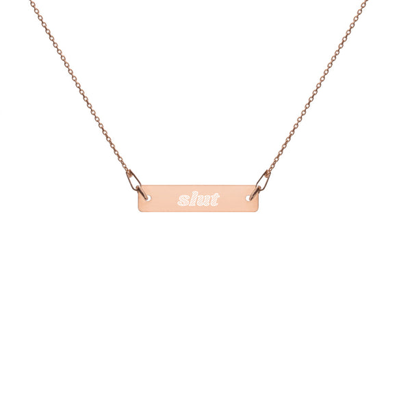 Slut Engraved Bar Chain Necklace - Ryze Kink