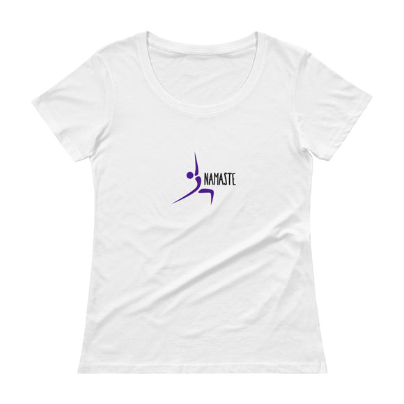 Yoga, Namaste, Warrior - Women's Scoop Neck T-Shirt in White