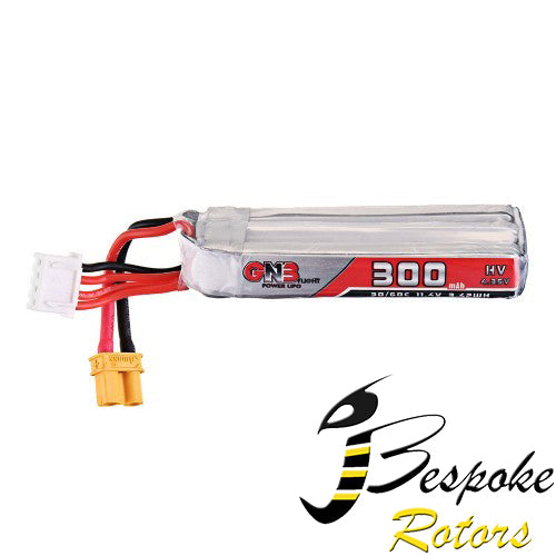 Gaonneng 11.4V 300mAh 30C/60C 3S HV 4.35V Lipo Battery XT30 Plug for Tiny Leader Drone
