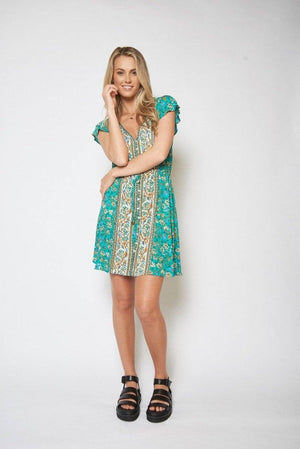 Gisele Mini Dress - Teal Indigo Attic