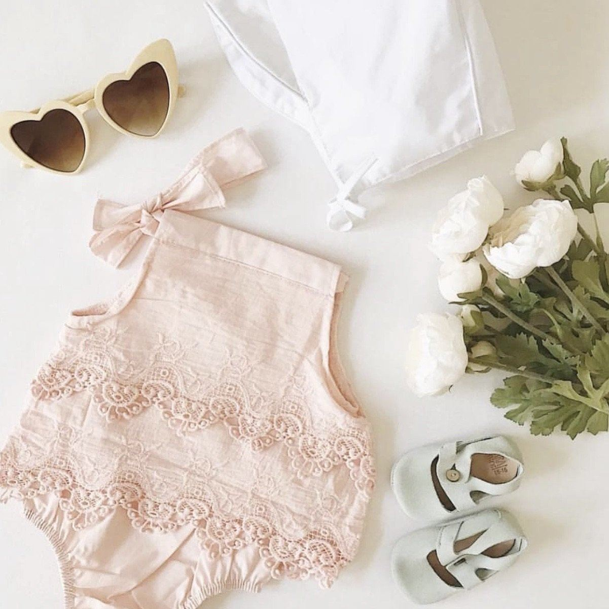 Edith Lace Romper - Pink Indigo Attic