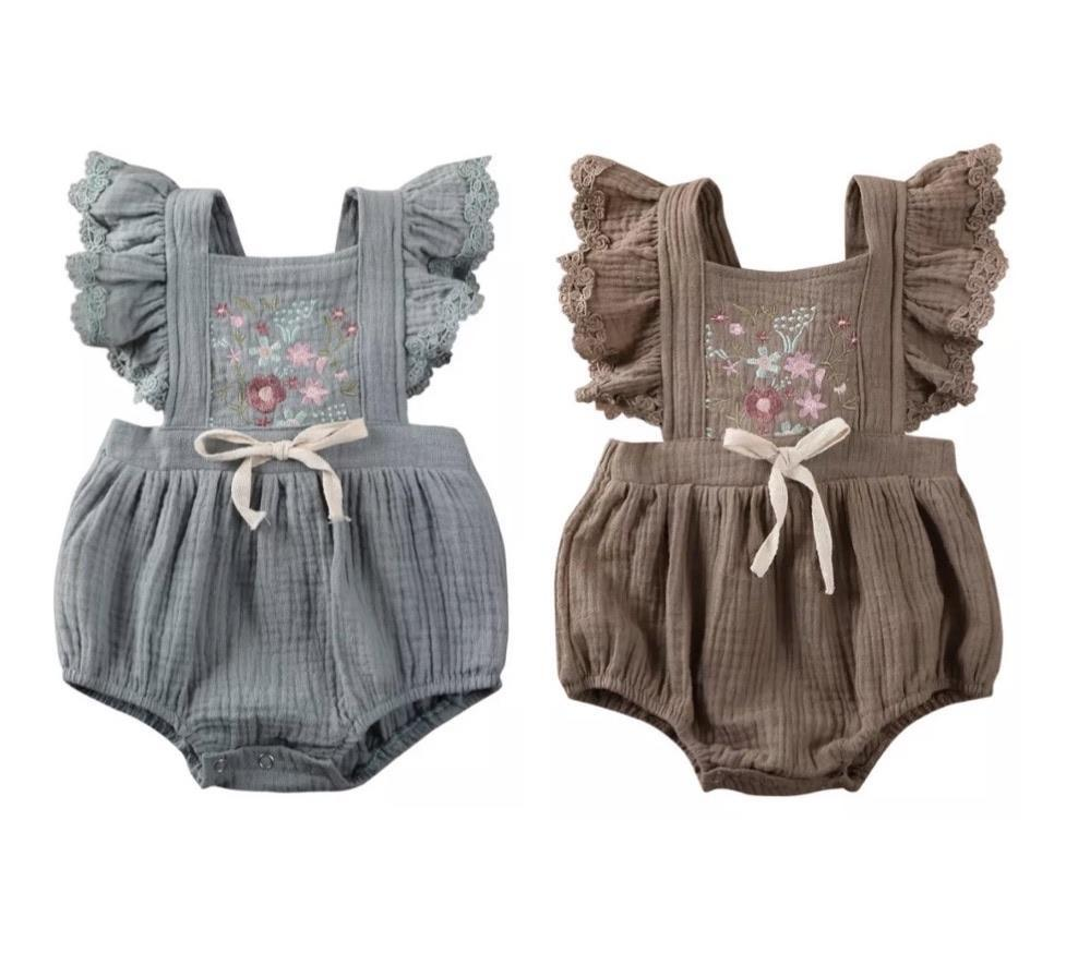 EDIT Mahina Embroidered Romper - Taupe Indigo Attic