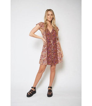 Gisele Mini Dress - Wine Indigo Attic