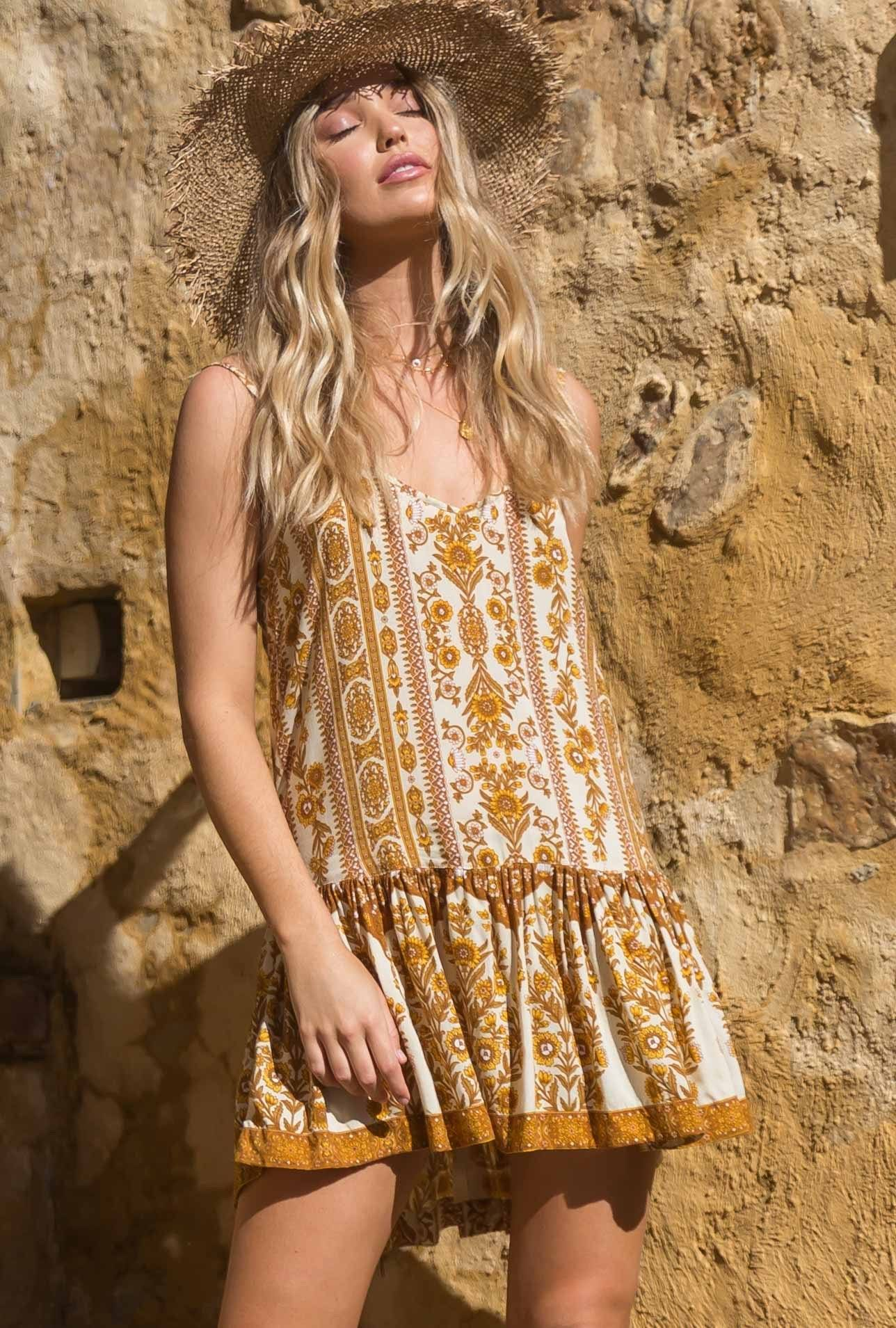 Indira Mini Dress - Gold Pastel Designs