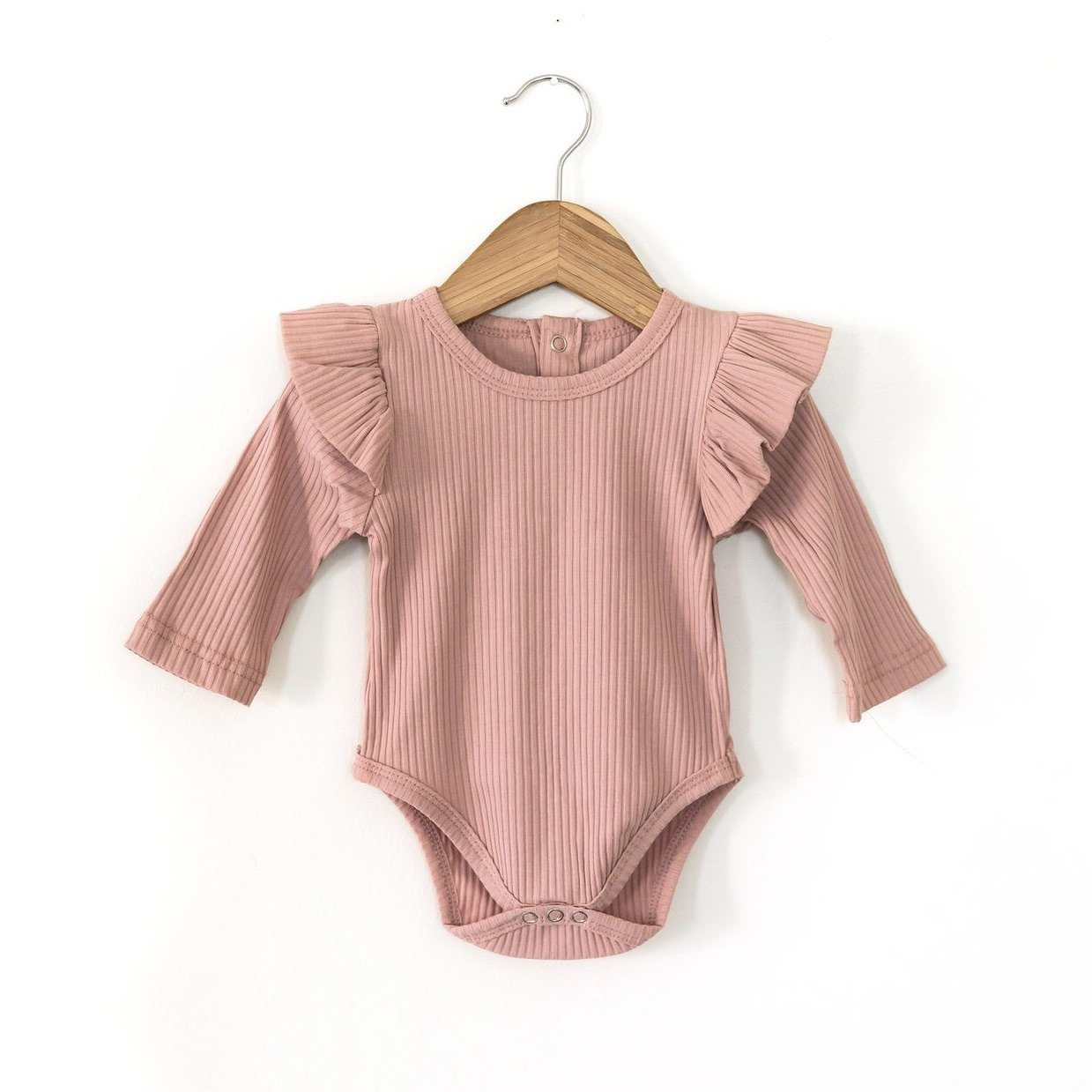 Ruffle Ribbed Romper - Blush Indigo Attic