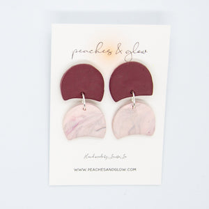 Maroon & Pink Dangles Peaches & Glow