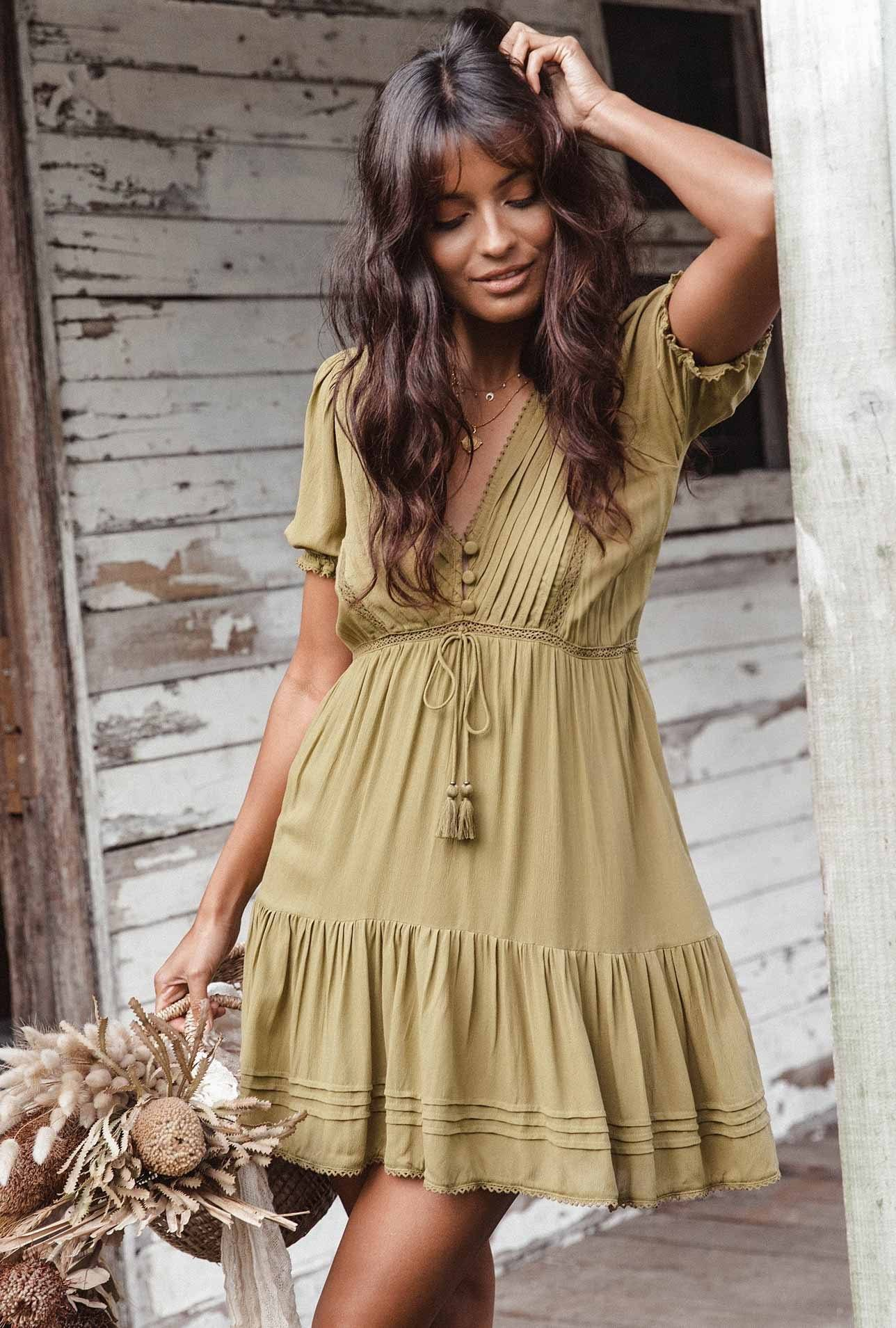 Hazel Baby Doll Dress - Olive Pastel Designs