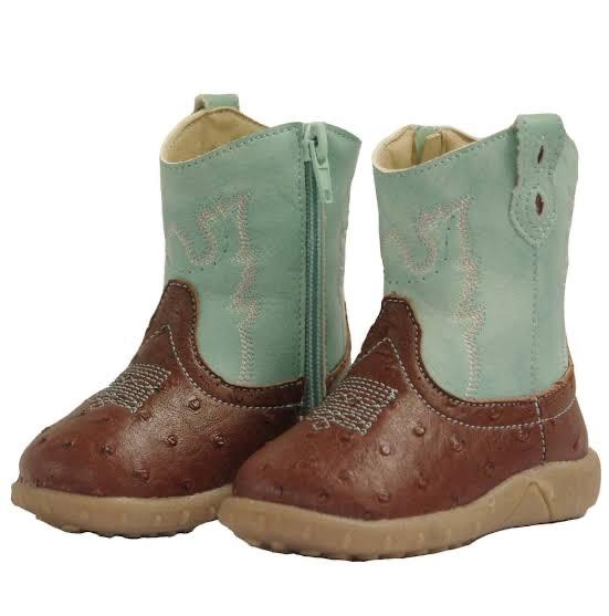 Baxter Baby Western Boots - Aqua and Tan Baxter Boots