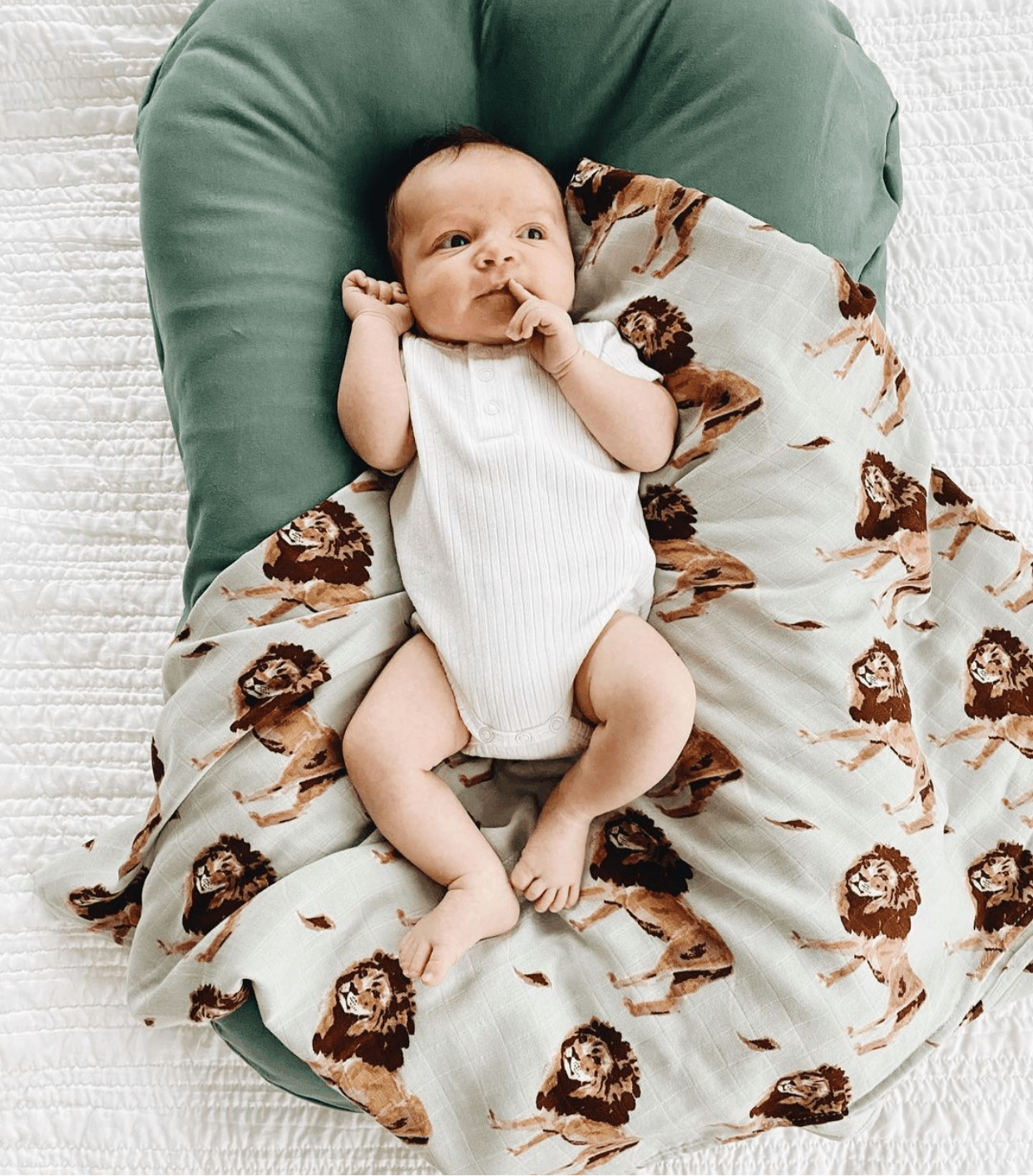 Lion Print Swaddle Indigo Attic