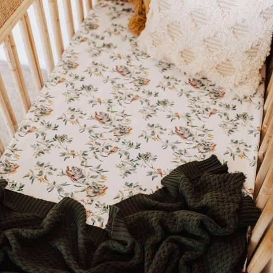 Eucalypt Fitted Cot Sheet INDIGO ATTIC