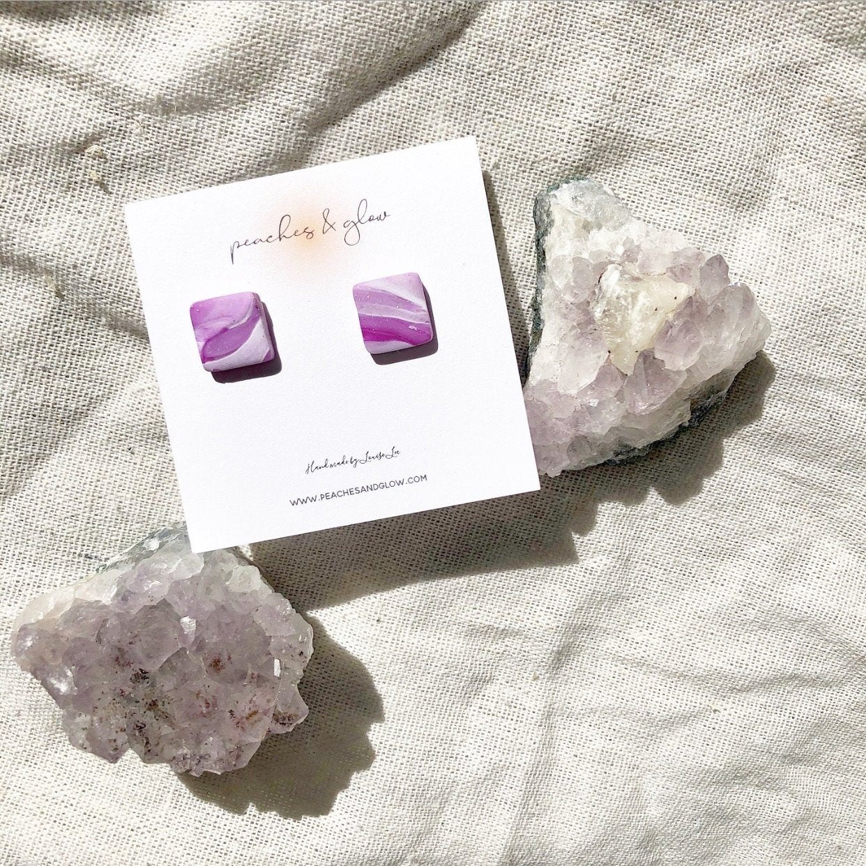 Purple Marble Mini Studs Peaches & Glow