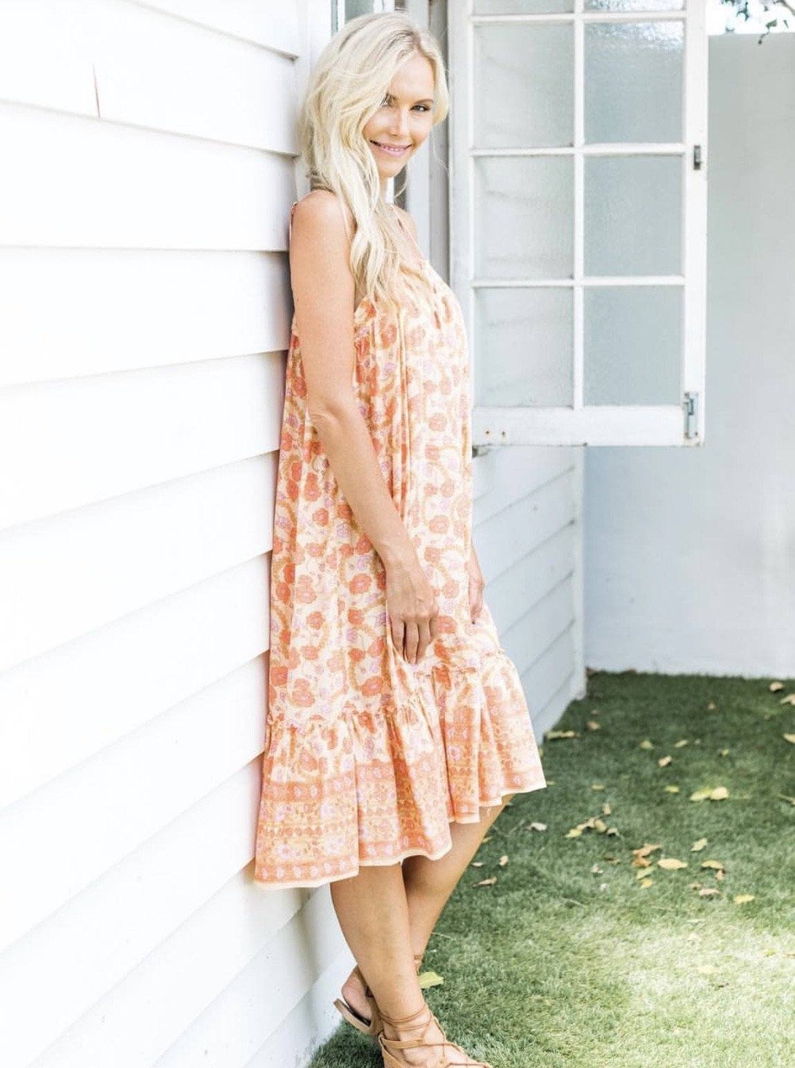 Poppy Midi Dress - Apricot Indigo Flower