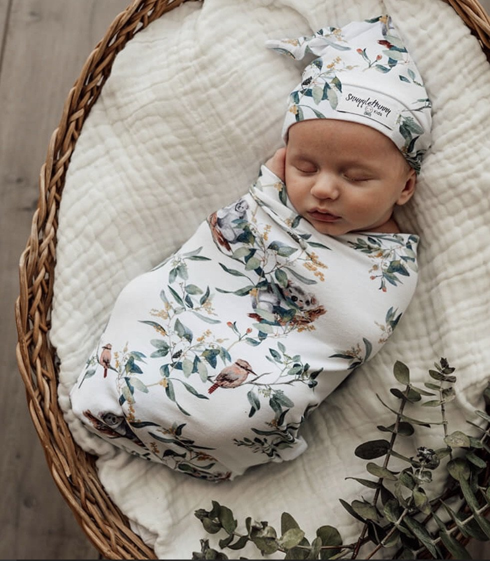 Eucalypt Swaddle and Beanie Set Snuggle Hunny