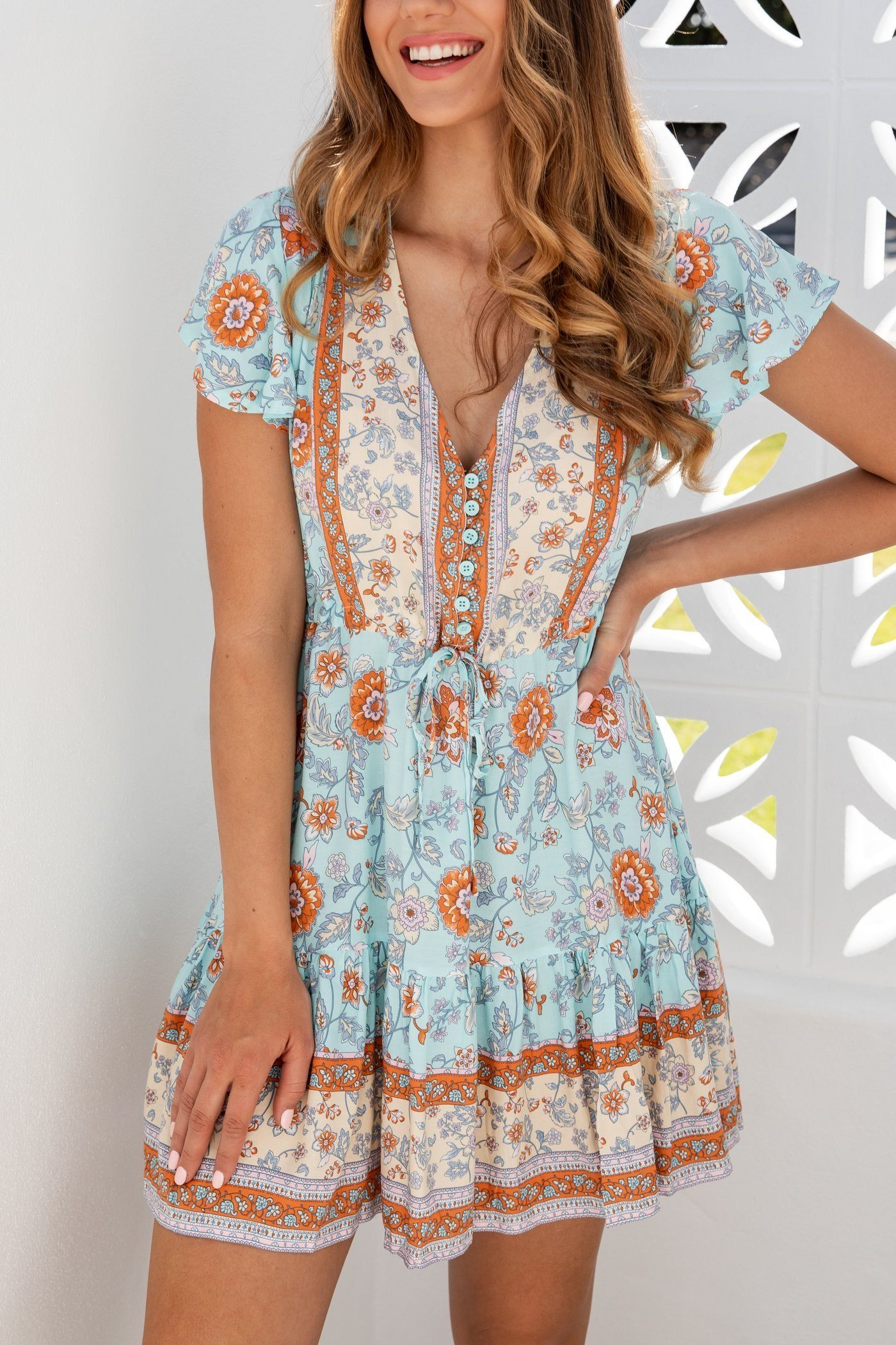 Salty Bright Baby Blue Mini Dress INDIGO ATTIC