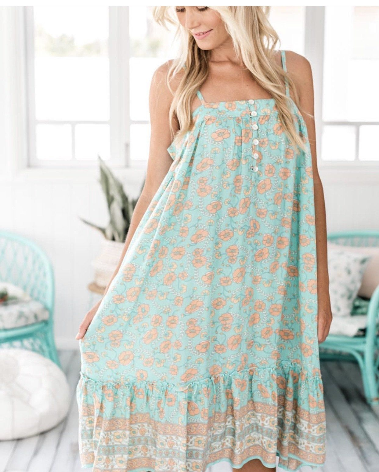 Poppy Midi Dress - Aqua Indigo Flower