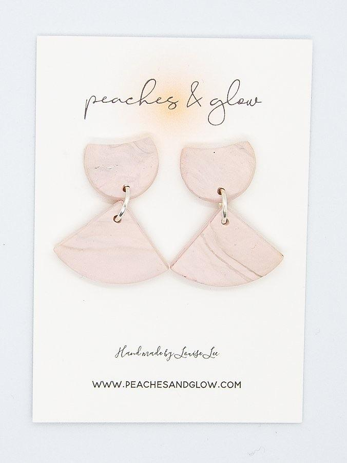 Pink & Grey Marble Earrings Peaches & Glow