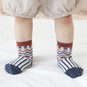 Aztec Socks - Navy Blue & Rust Indigo Attic