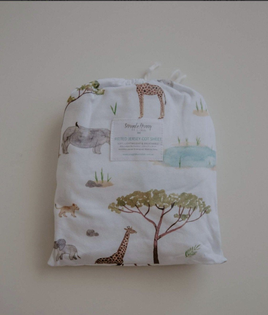 Safari Fitted Cot Sheet Snuggle Hunny