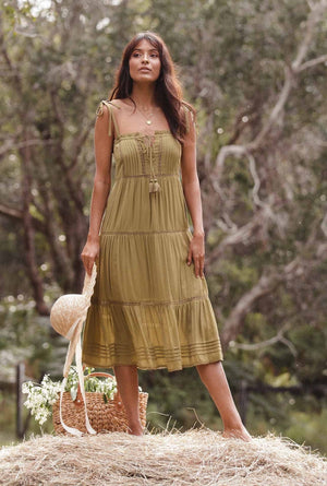 Hazel Midi Dress - Olive Pastel Designs