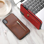 Fashion zipper Leather Phone Case Card Holder Wallet Cover for iPhone [PREMIUM]