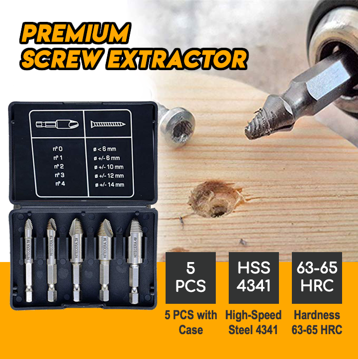 PREMIUM Hardened Screw Extractor [Set of 5 pcs]