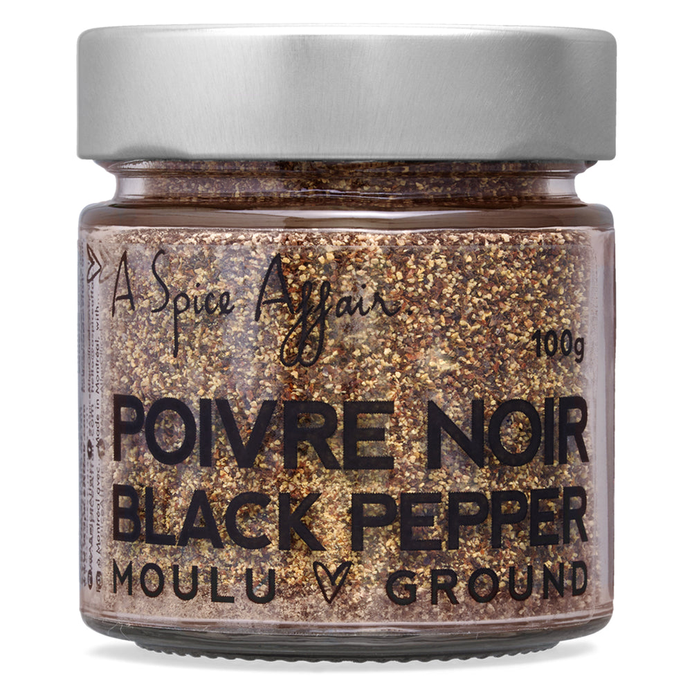 Poivre noir moulu A Spice Affair. Pot de 100 g (3,5 oz)