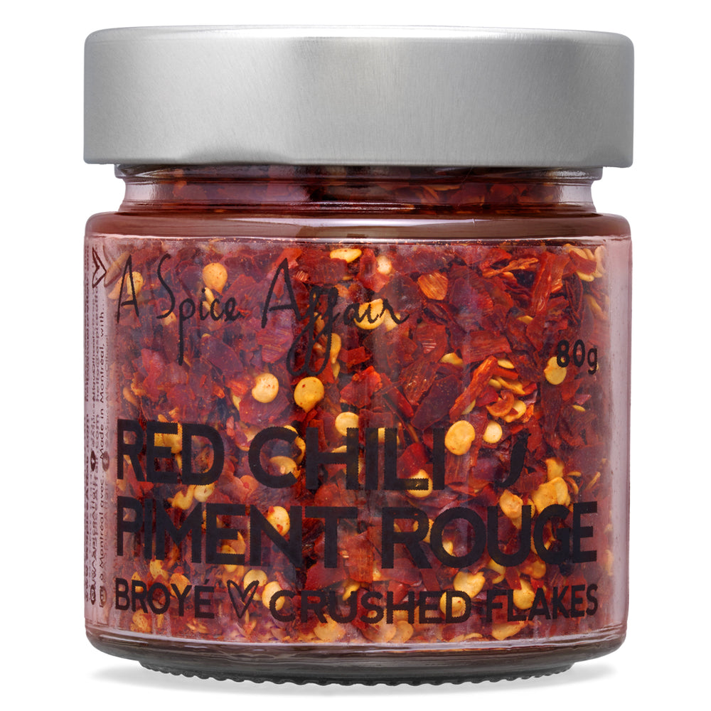 Piment rouge broyé piquant A Spice Affair. Pot de 80 g (2,8 oz)