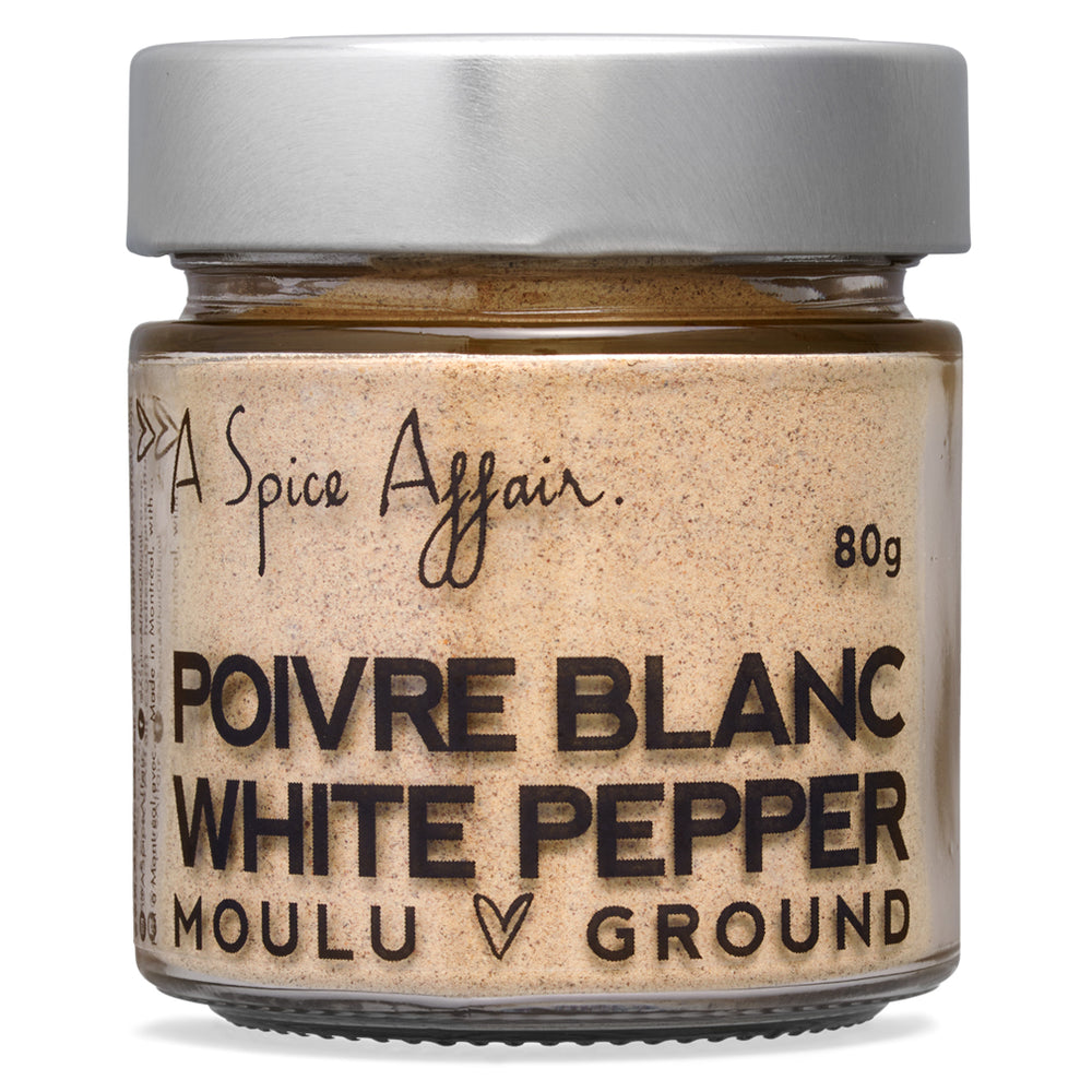 Poivre blanc moulu A Spice Affair. Pot de 80 g (2,8 oz)