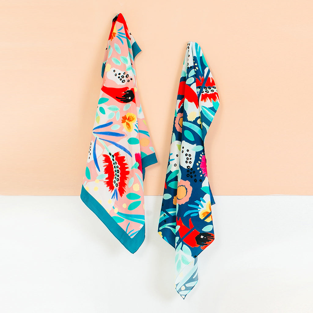ABSTRACT OZ TEAL SCARF - classic size