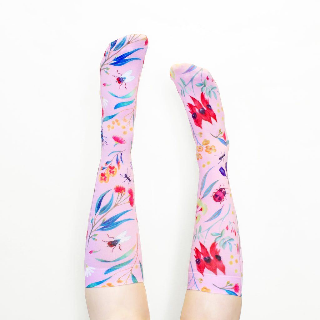 WILD FLOWERS SOCKS ~ PINK