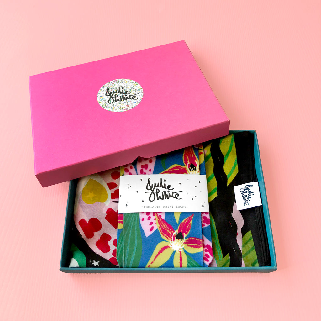GIFT BOX SPECIAL - small silk/cotton scarf + socks