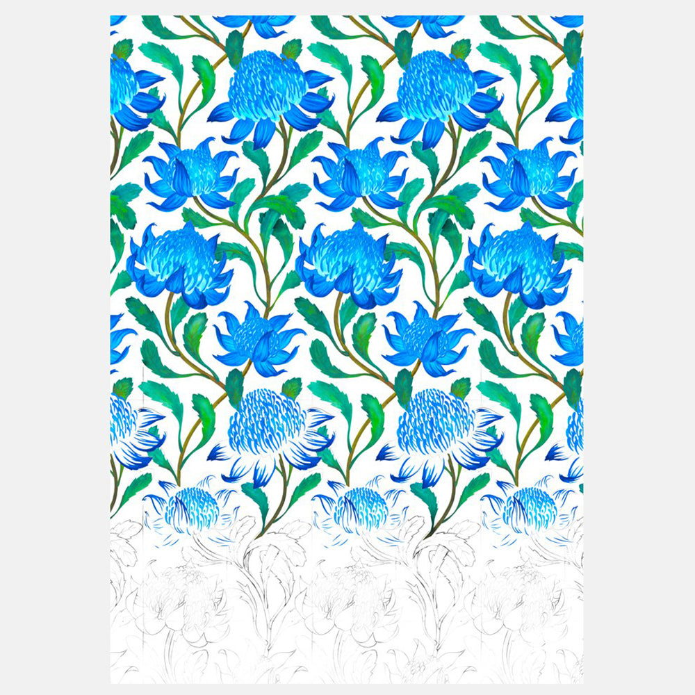 ART PRINT - WARATAH DEGRADE BLUE