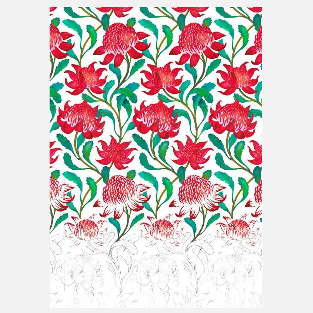 ART PRINT - WARATAH DEGRADE / RED