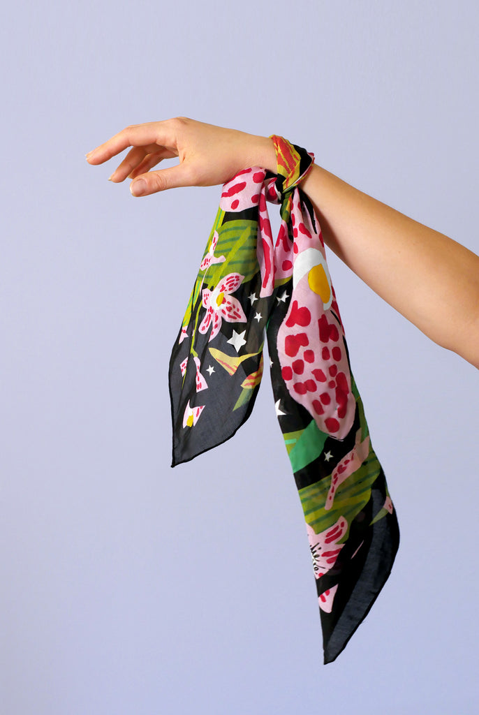 MIDNIGHT ORCHIDS SCARF - small scarf