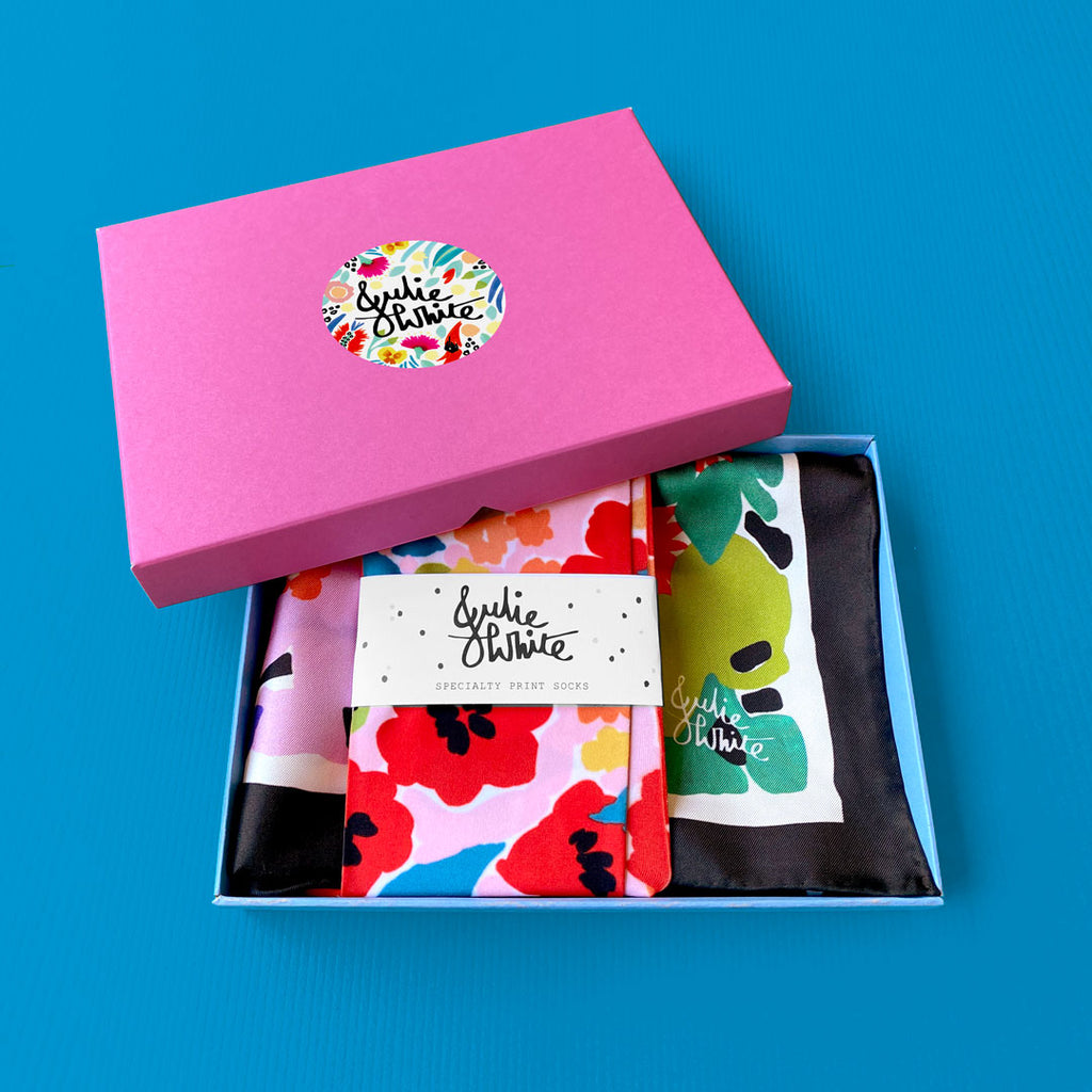 GIFT BOX SET ~ small silk scarf + socks