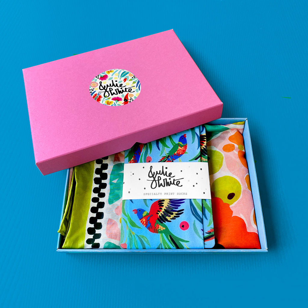 GIFT BOX SET ~ small silk cotton scarf + socks