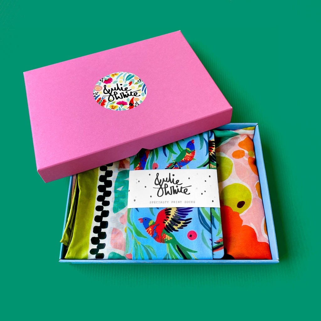 GIFT BOX SPECIAL - small silk cotton scarf + socks